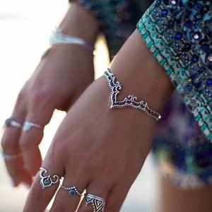 Jewelry - PREVIEW Boho Silver Crown Bangle Bracelet